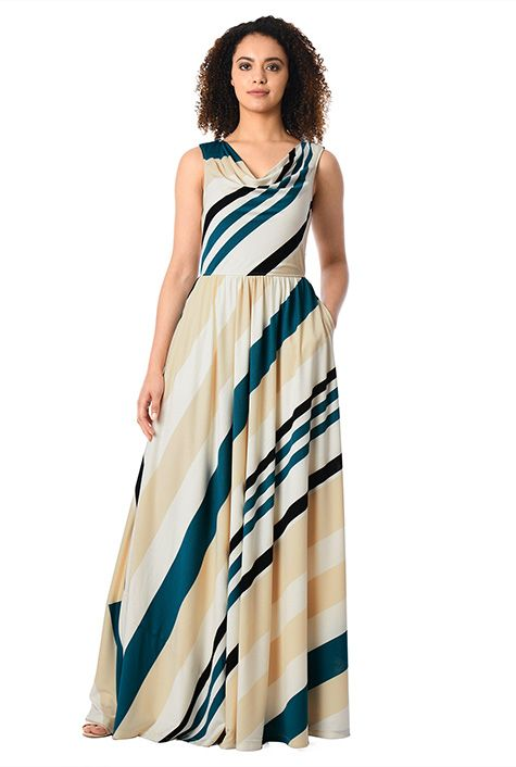 Taylor stripe jersey maxi dress