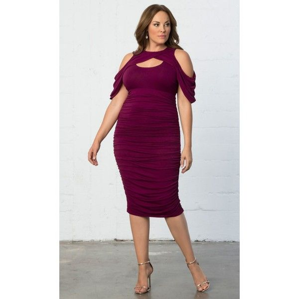Kiyonna Bianca Ruched Dress ($108) ❤ liked on Polyvore featuring plus size women's fashion, plus size clothing, plus size dresses, plus size, raspberry romance, bodycon dress, women's plus size dresses, sexy plus size cocktail dresses and plus size bodycon dresses