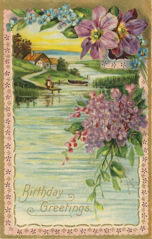 Vintage postcard with clematis and lilacs