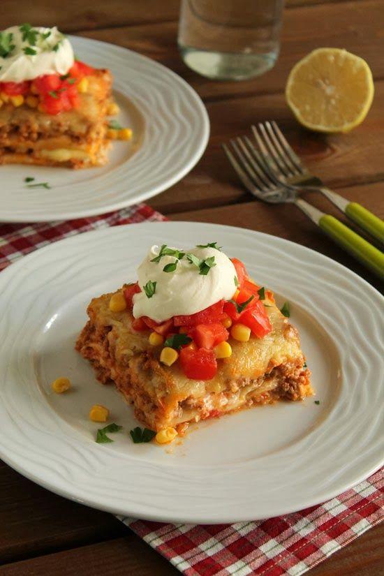 Mexican mince lasagna