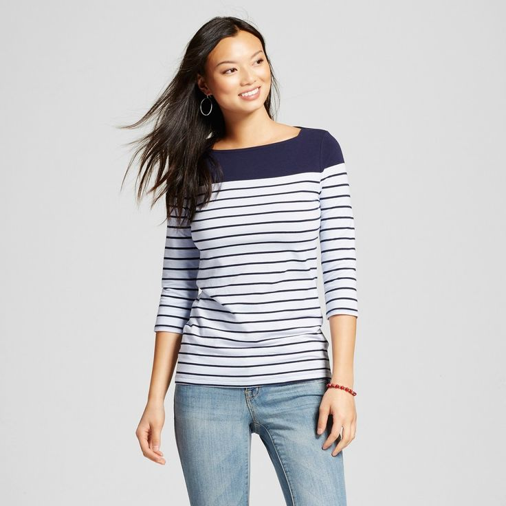 Women's Striped Boatneck Tee Navy/Bauble Blue Stripe (Blue/Bauble Blue Stripe) Stripe XL - Merona