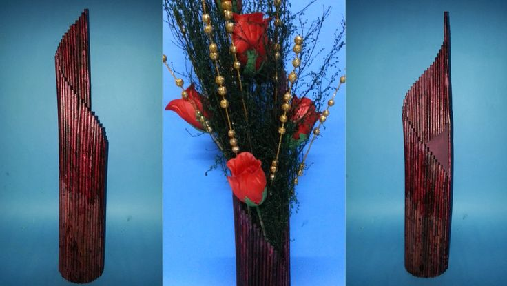 Here is another flower vase which can be made with waste material lying around your home. This one has a plastic base which protects the vase against moistur...