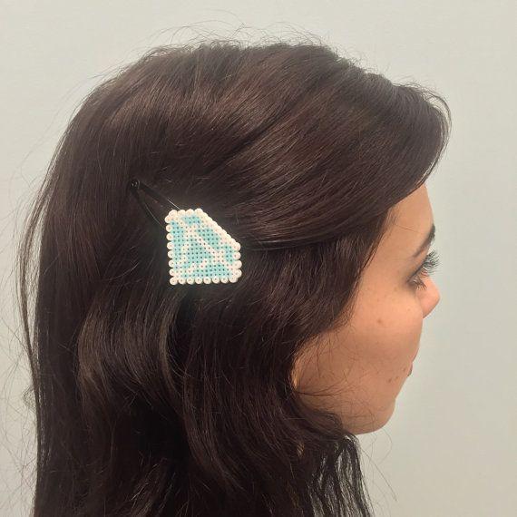 Diamond Emoji Barrettes - Mini Perler Beads, Mini Hama Beads, Fuse Beads, Hair Clips, Kewlery, Emoji Jewelry, Girl Gift