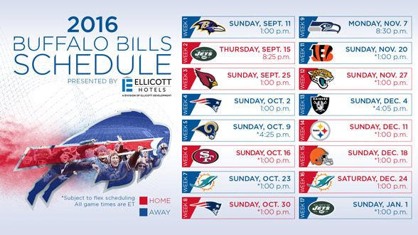 The official site of the NFL 2016 Buffalo Bills Schedule with opponents, dates, times, TV network, and links to tickets. The scheduling for the Buffalo Bill's games will be posted on the website. Also View the complete Buffalo Bills team schedule on ESPN.com, fbschedules.com, foxsports.com and more.