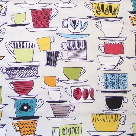 Prestigious Textiles -  High Tea Fabric Collection - Multicoloured teacup pattern fabric