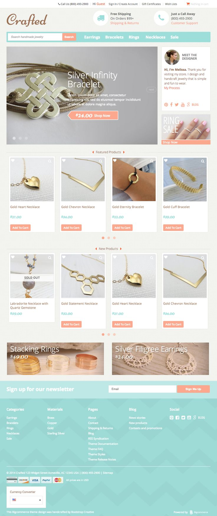Ecommerce website template Crafted is designed to help makers of handmade and boutique products create their own online store. #CraftedTemplates