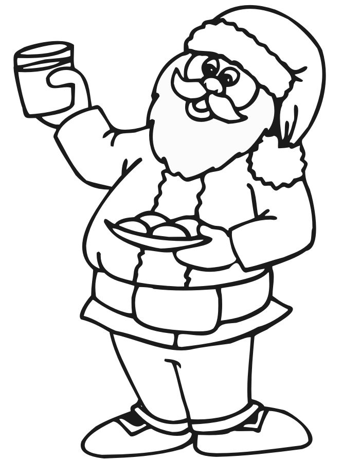 Santa Has Milk And Cookies Coloring Page