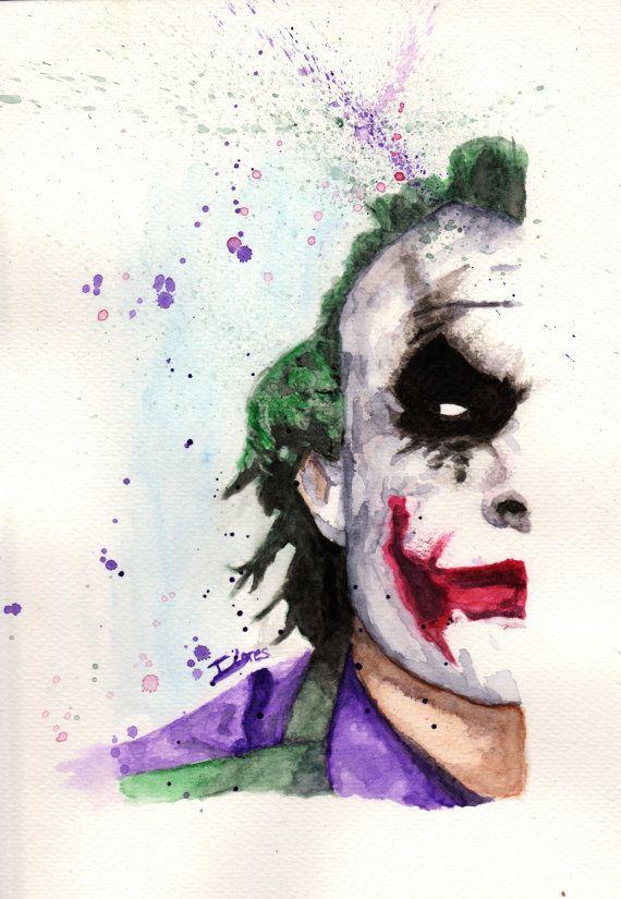 Joker DC Batman comic Watercolor art Print Decor paint Impresión acuarela