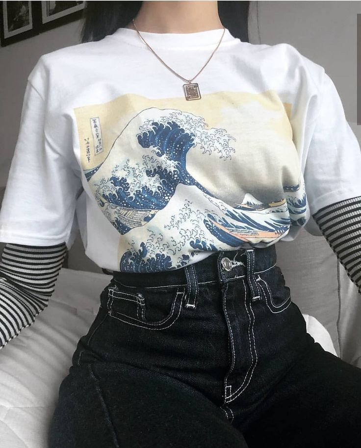 Große Welle weg vom Kanagawa-Tsunami Japaneses-Kunst-Malerei-T-Shirt – angelll angell