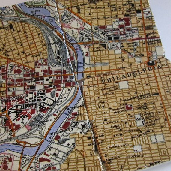 Philly Map Coasters by thepaintedlily on Etsy, $32.00