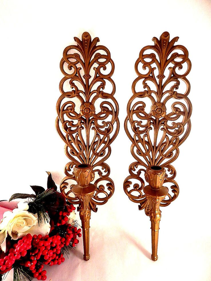 Candlestick Sconce Taper Candle Holder Burwood Products Wall Hanging Set of Two