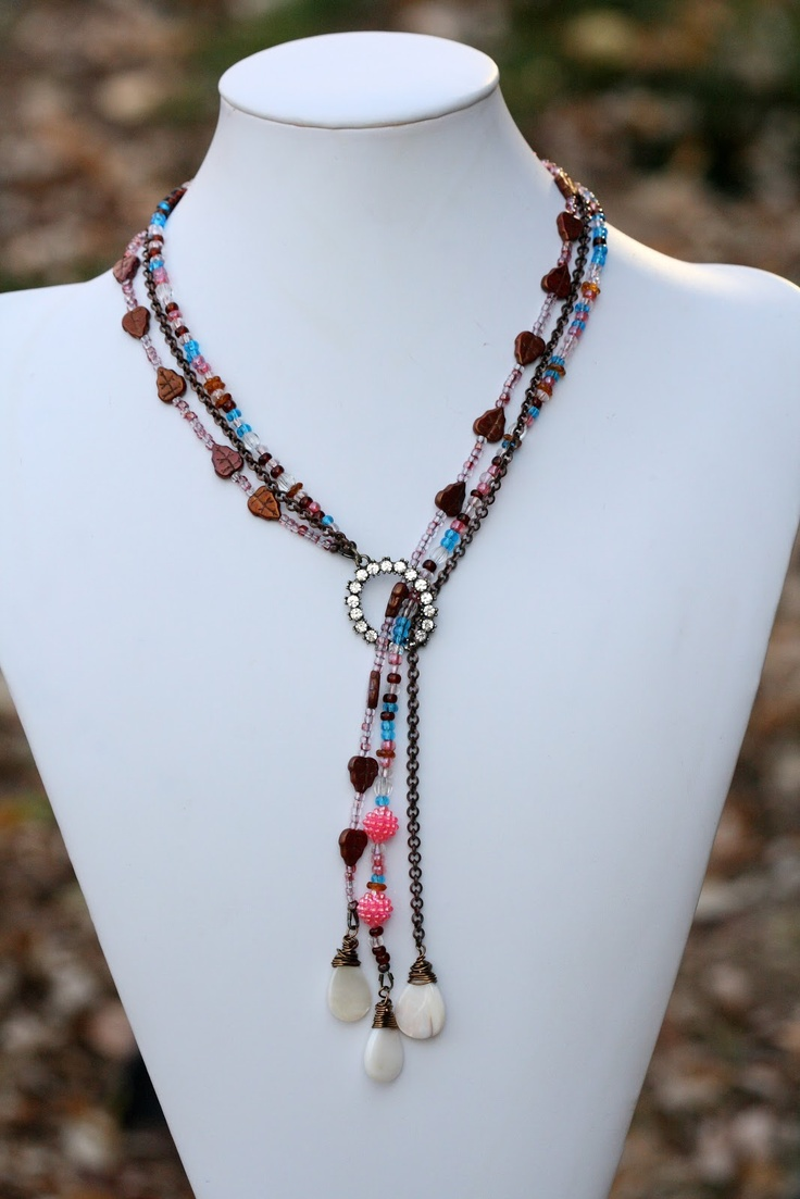 Triple strand lariat by Tanya, A Work in Progress