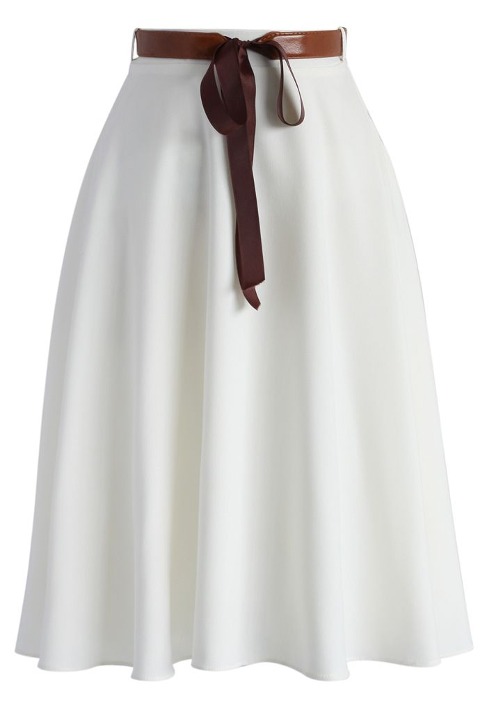 Tender Flaunts Belted A-line Skirt in White - New Arrivals - Retro, Indie and Unique Fashion