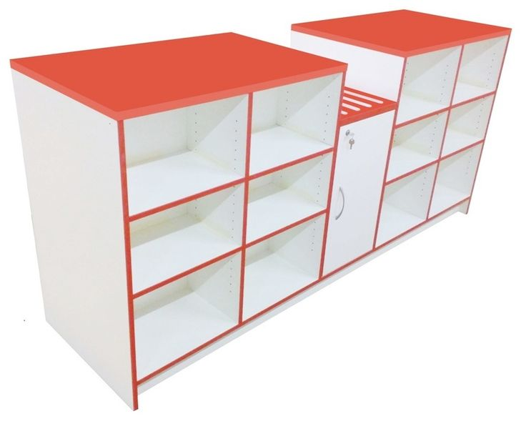 Quality Convenience Shop Counters. Let's us create the perfect shop counter for your retail display area. Choose from a range of colours/wood finishes. This counter is finished in white with a durable laminate work top and red pvc trim. Basket well with open storage to the rear.