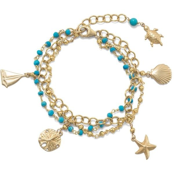 3 strand 14k gold plated bracelet with nautical charms and... (160 AUD) ❤ liked on Polyvore featuring jewelry, bracelets, beaded bangles, turquoise jewellery, gold plated charms, chain jewelry and turquoise bangle