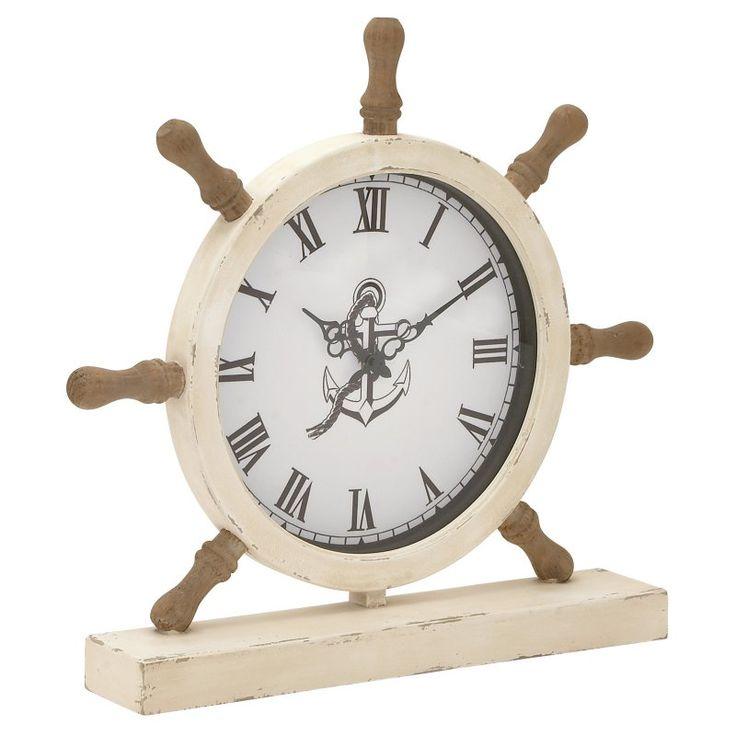 DecMode Ship Wheel Wood Table Clock - 20457