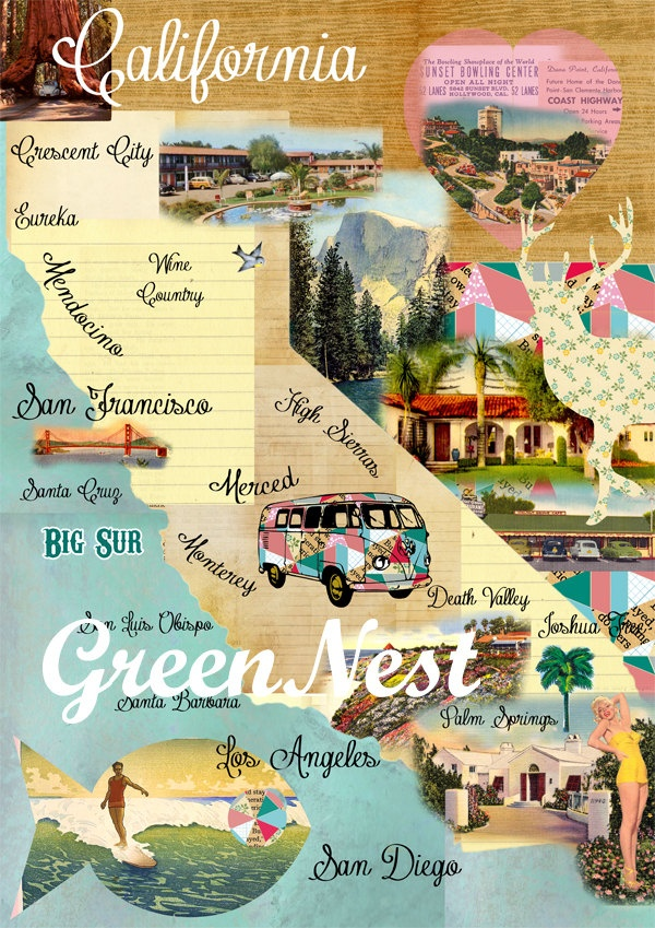 Vintage California Map Collage As a California Girl  i approve