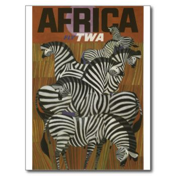 Advertisement for airline travel to Africa. Vintage TWA poster shown on a postcard. Cool zebra art. #twa #trans #world #airlines #vintage #travel #africa #zebra #art #wildlife postcards