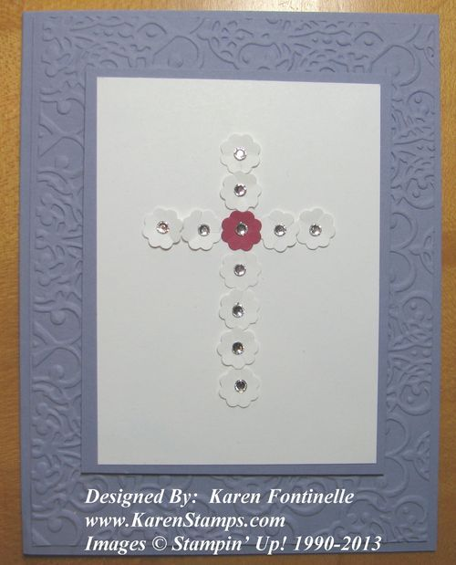 Easter Cross Card made by punching small flowers from the Itty Bitty Punch Pack.