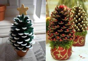 Kerstboom gemaakt van denneappel