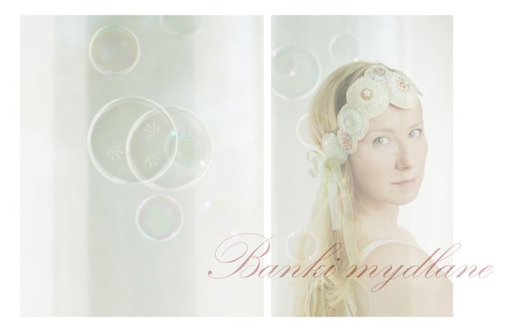 Soap bubbles. headband. silk, beads, embroidery.