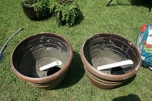cement pvc into pots as base for sun shade canopy