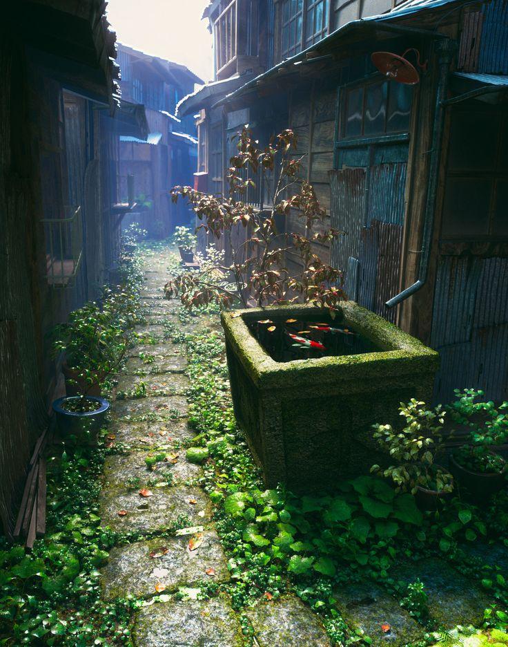 Alley Of Tokyo Old Town, Akihiko Kamiya on ArtStation at https://www.artstation.com/artwork/0qRP8