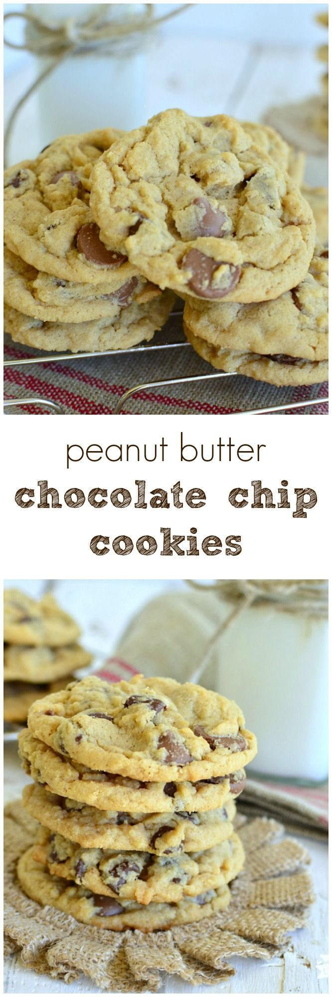 The best Peanut Butter Chocolate Chip Cookies!  A little crsipy on the edges and chewy in the center! #easyrecipe www.littledairyontheprairie.com