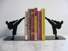 Karate Martial Arts Taekwondo Metal Bookends by Just4theArtofit on Etsy https://www.etsy.com/listing/157739407/karate-martial-arts-taekwondo-metal