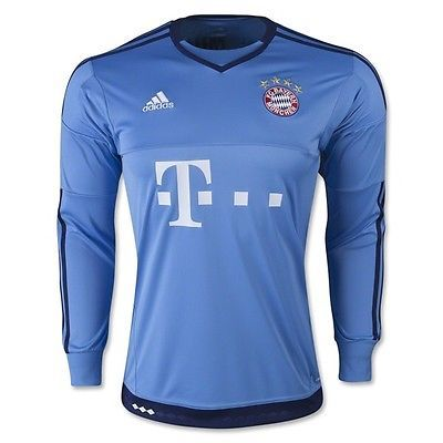 New Adidas Bayern Munich Goalkeeper Top Boys 15-16 Goalie Football Shirt Junior