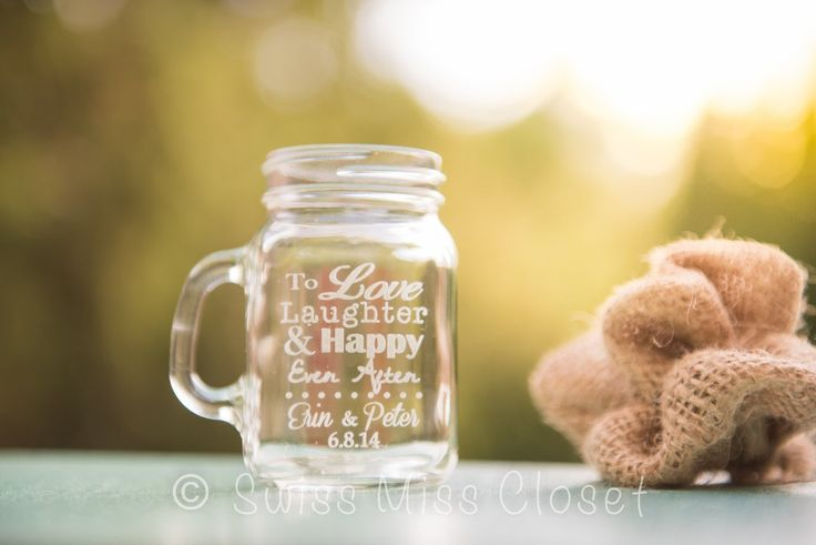 48 Custom Etched Mini Mason Jar Shot Glass Personalized Wedding Favor Groom's Men Bride's Maid Gift. This listing is for 48 custom etched mini mason jar shot glass they measure 4oz and are custom etched making it a fun and rustic shot glass, perfect for wedding favors, Groom's men and bridesmaid's gifts or just for fun at home! Our glass etching is carefully done by laser engraving rather than using a chemical process. All of our items are lovingly made in a clean smoke free home. Please...
