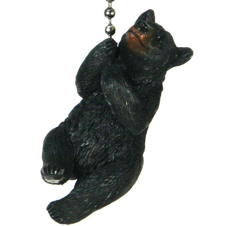 Realistically hand-painted poly resin black bear fan pull suspended on a long metal chain. Great rustic decor lighting accessories for hunting camps, log cabins, or lodges! Comes with long beaded chai