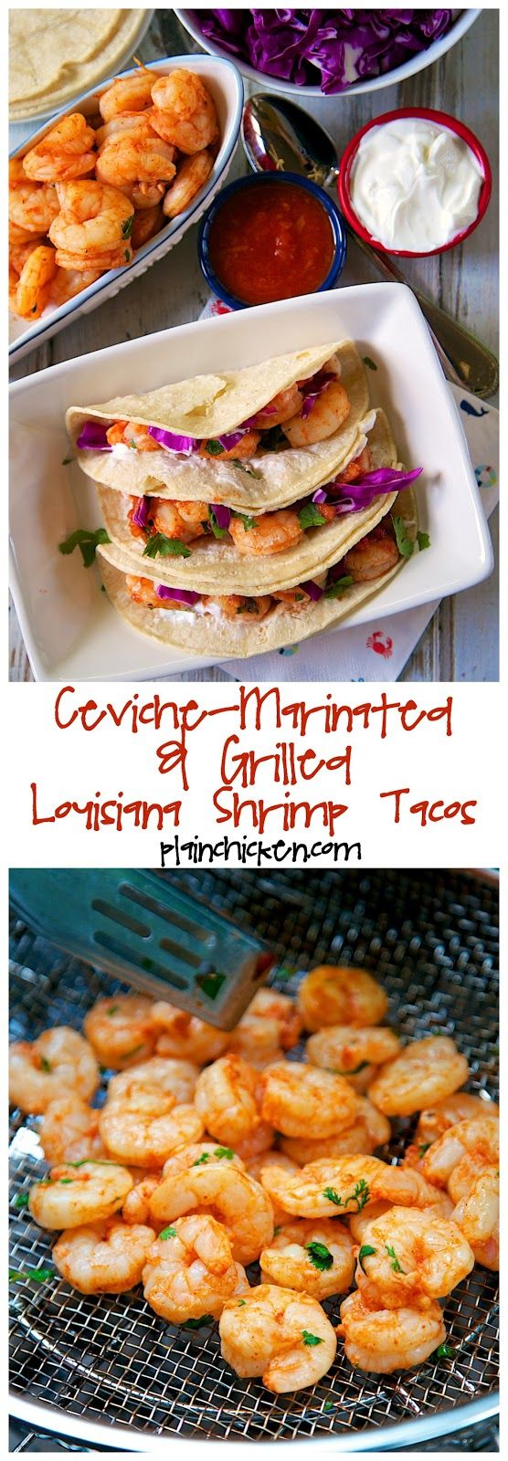 Ceviche-Marinated & Grilled Louisiana Shrimp Tacos Recipe - shrimp marinated in a mixture of tomato juice, lime juice, red onion, cilantro and chili powder. Marinate for 20 minutes and grill for 6 minutes to finish cooking. To assemble the tacos, we grilled a few corn tortillas and topped them with shrimp, sour cream, cabbage and salsa. SO good! Better than any restaurant!