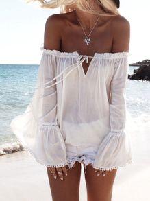 Chemisier épaule dénudée - Blanc