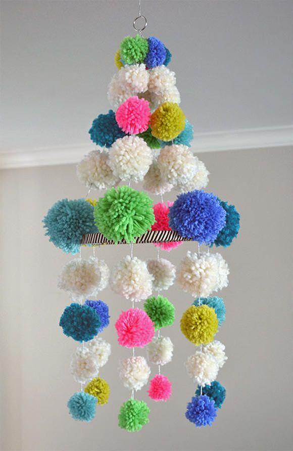 DIY Pom Pom Chandelier via @Marianne Correa (smallforbig.com)
