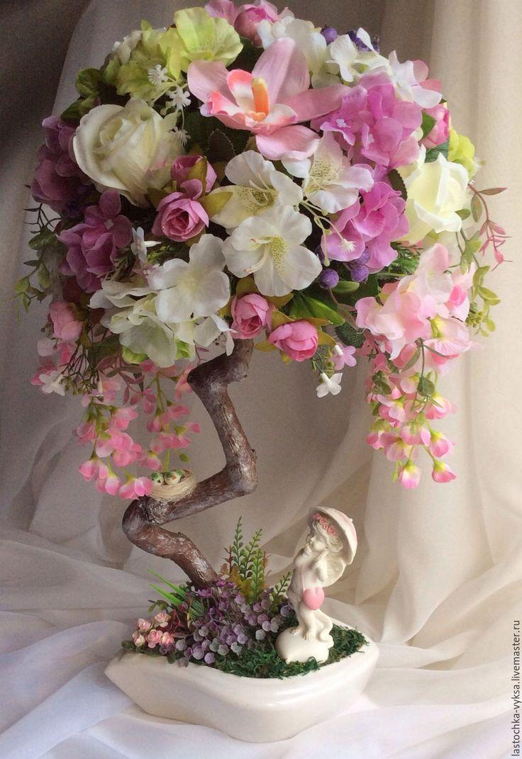"""Купить Топиарий с нестандартной кроной """"Вистерия"""" - топиарий, Дерево счастья, купить подарок, розовый"""