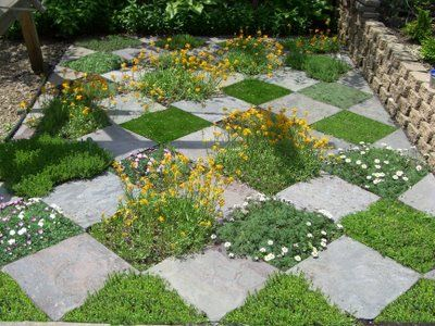 Checkerboard grass and pavers.  This would look good under the tree out back.