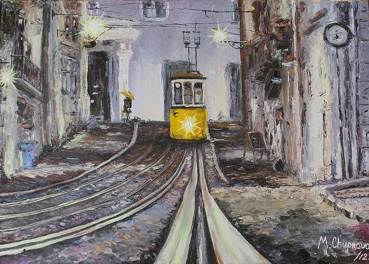 "Portuguese-train-from-Lisbon-oil-painting (Португальский трамвай из Лиссабона, картина маслом)  ""A Train Named Desire"" (40*50 oil/canvas, 2012) ""Трамвай ""Желание"" 40*50, холст/масло, 2012г  by Chuprova Margarita // = // = // = // = // = // = // = // = // = // = // = // = В частной коллекции = Private collection"
