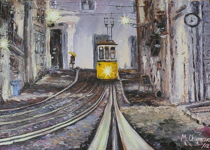 "Portuguese-train-from-Lisbon-oil-painting (Португальский трамвай из Лиссабона, картина маслом)  ""A Train Named Desire"" (40*50 oil/canvas, 2012) ""Трамвай ""Желание"" 40*50, холст/масло, 2012г  by Chuprova Margarita // = // = // = // = // = // = // = // = // = // = // = // = В частной коллекции = Private collection"