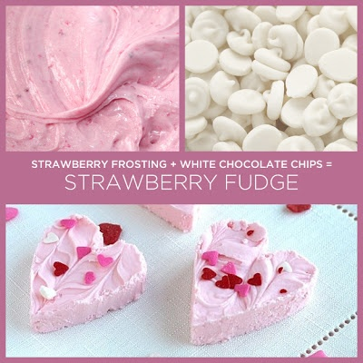 """LiFe iS BeaUtiFuL: 2 Ingredient Strawberry Fudge  1 Melt the white chocolate chips in either a double boiler OR in the microwave.  2 Mix the melted chips with the strawberry frosting, until well blended.  3 Spread the mixture evenly into a 9"""" x 9"""" pan. (You can make a swirl or wavy pattern, across the top surface, etc.)  4 Place in the fridge for about 30 min  5 Cut into squares and serve (OR cut into hearts for Valentines Day!)"""
