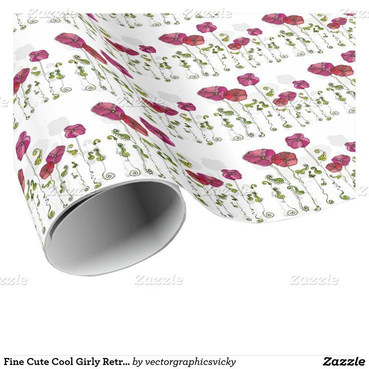 Fin gullig Retro blom- mode för coola flickaktigt Presentpapper