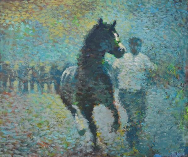 Y march glas o Sir Aberteifi / El semental azul desde Ceredigion/The blue stallion of Cardiganshire. pic.twitter.com/YoLK6s4zoT