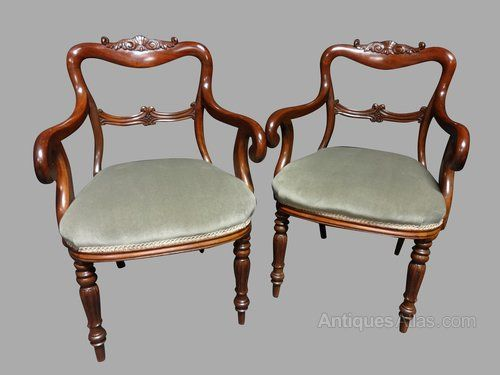 In excellent condition, mahogany carver chairs , curley arms, tulip shaped legs.