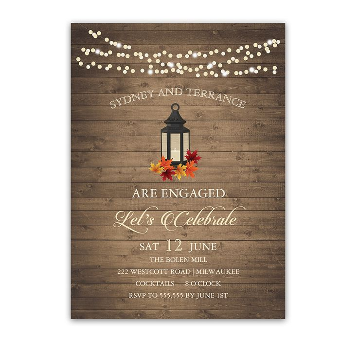 Rustic Chic Fall Leaves Lantern Engagement Party Invite which has an iron lantern with fall leaves for fall engagement parties in autumn months.