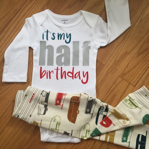 Half birthday shirt baby boy, 1/2 birthday - Red and Teal camper color theme - boy half birthday