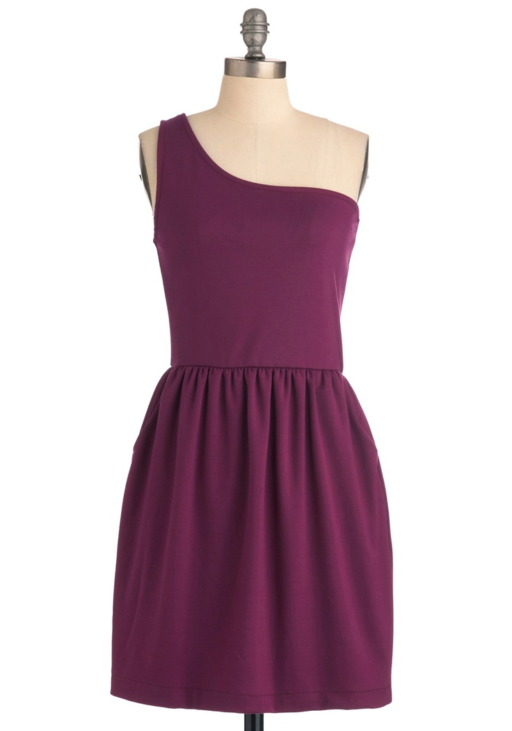 Ladies and Magentas Dress - Mid-length, Purple, Solid, Pockets, One Shoulder, Casual
