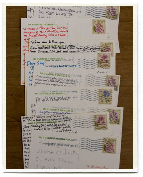 "A BRILLIANT IDEA: ""My dad recently turned seventy and I wanted to do something special for him. I printed postcards on cardstock. I gathered addresses for seventy of the important people in my dad's life: family members, old classmates, dear friends and all his grandchildren. Included in the envelope was a card explaining that it was dad's birthday, and that they needed to send the postcard back sharing their funniest memory of him. To make things easy, I pre-addressed and pre-stamped the…"