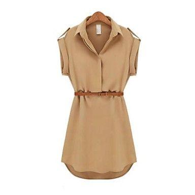 nuo wei si ® cap chiffon lapela camisa de manga trecho mulheres mini vestido com cinto – BRL R$ 29,50