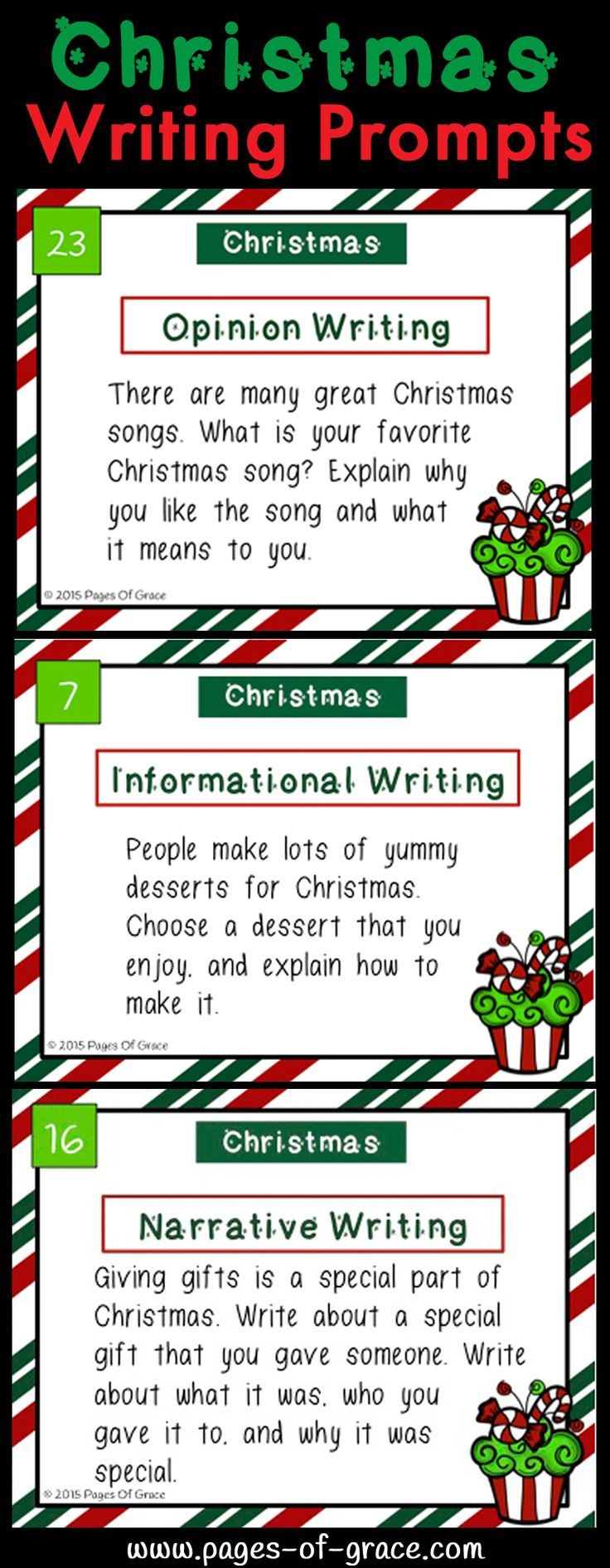Great set of Christmas writing prompts! 8 fun writing prompts each for Opinion, Informational, & Narrative writing. This is a great way to tie in some Christmas fun without losing valuable teaching time!