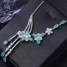 Fidelity natural esmeralda colgantes Collares de plata de ley s925 natural verde de la piedra preciosa Collares noble joyería fina para las mujeres(China)